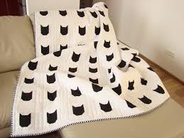 modern quilt black u0026 white quilt custom quilt cat quilt