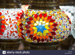 turkish colorful decorative lamps with glass color mosaics for