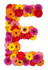 e flowers letter e flower alphabet isolated on white background stock