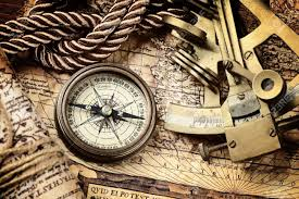 Old Map Vintage Still Life With Compass Sextant And Old Map Stock Photo