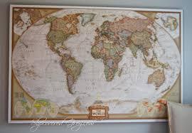 world map wall art slipcovered