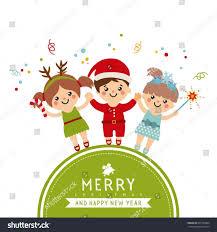 kids poems lights decoration children wearing stock vector card