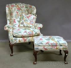 taylor king queen anne style printed floral pattern upholstered