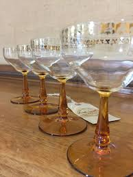 vintage martini glasses 4 1920s retro champagne glasses with amber stems and pretty gold