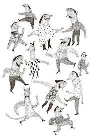 good mood original drawing pen drawing party jumping