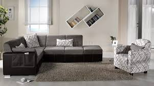 Convertible Sectional Sofa Bed Brown Fabric U0026 Leatherette Base Convertible Sectional Sofa Bed