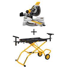 dewalt chop saw table dewalt 15 amp 12 in sliding miter saw with rolling miter saw stand