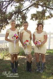 we love a lace bridesmaid dress with boots for your country