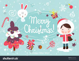 christmas greeting card happy rabbit stock vector 505386961
