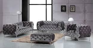 tufted living room furniture meridian furniture mercer 4pcs modern tufted grey velvet sofa living