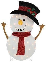 lighted smiling snowman yard decor 24