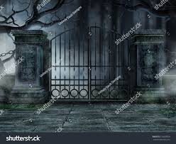 graveyard clipart black and white gothic graveyard gate old withered trees stock illustration