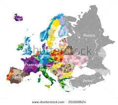 europe map by country europe map colored by countries regions stock vector 687529747