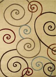 Hampton Rugs Chester Scroll Ivory Round Contemporary Transitional Rug