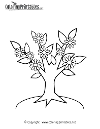 tree flowers coloring page a free nature coloring printable