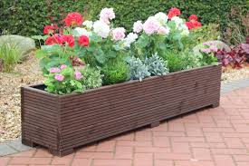 wooden garden planter trough 150cm length decking painted ronseal