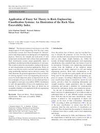 application of fuzzy set theory to rock engineering classification