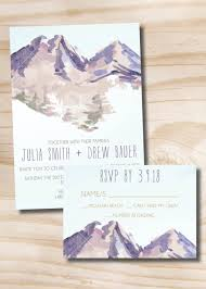 Wedding Invitations With Response Cards Watercolor Mountain Wedding Invitation Response Card Invitation