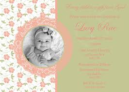 Design For Invitation Card For Christening Custom Flower Baptism Invitation Green And Pink Flower