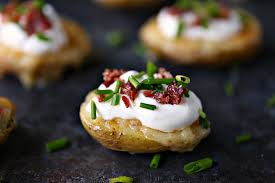 mini potato skins with sour cream bacon and chives cravings of