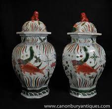 pair chinese ming porcelain goldfish urns ginger jars vases ebay