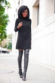 style pantry little black dress over the knee boots