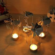 4 styles spinning rotary metal carousel candle holder stand light