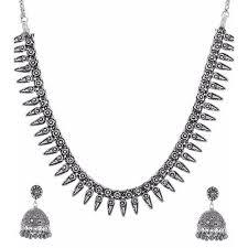 silver necklace set images Silver necklace set chandi ka har set heera panna noida id jpg