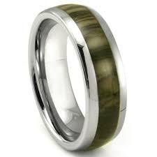 carbon wedding band tungsten carbide oak metamorphic inlay dome wedding band ring