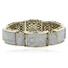 bracelet diamond men images 10k yellow gold round cut diamond pave thick link men 39 s bracelet jpg