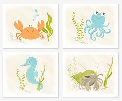 sea creatures wall print set nursery babies and baby nurseries