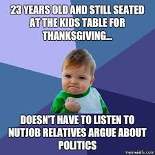 Meme Kids - at the kids table for thanksgiving funny meme picture