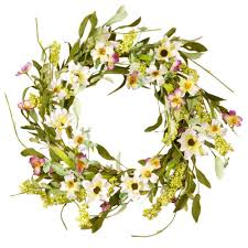 flower wreath national tree company 20 in mixed flowers white purple floral
