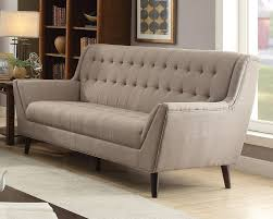 light brown linen sofa w tufted back u0026 seat by acme