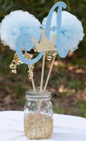 baby shower arrangements for table prince baby shower initial blue and gold baby boy centerpiece table