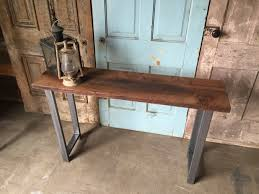 entryway inspiration decor rectangular reclaimed brown wood console table with steel