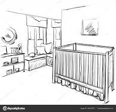 Room Sketch Drawn Children Room Furniture Sketch Baby Bed U2014 Stock Vector