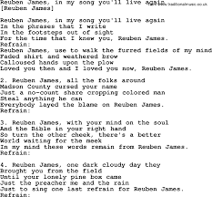 old american song lyrics for reuben james in my song you u0027ll