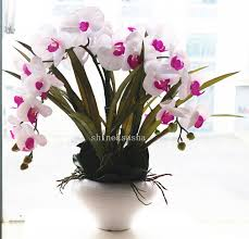 white orchid flower 1set silicon real touch artificial orchid flower arrangement