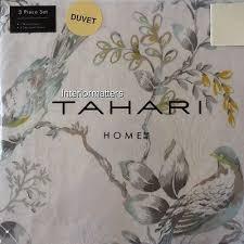 tahari bedding floral bird damask 3pc king duvet cover set grey