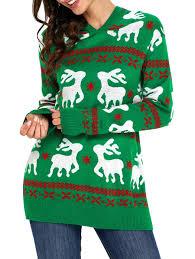 2017 hooded deer jacquard sweater green l in sweaters