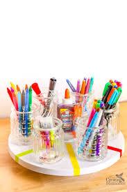 Pen Organizer For Desk Diy Rotating Desk Organizer For An Easy Homework Station