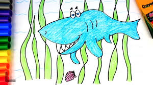 learning sea animals name drawing shark learn color teach colors