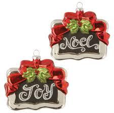 raz noel glass chalkboard ornaments set 2