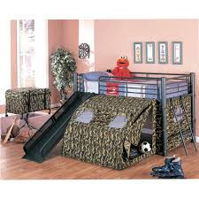 Bunk Bed With Slide And Tent Coaster Army Loft Bed With Slide And Tent Walmart