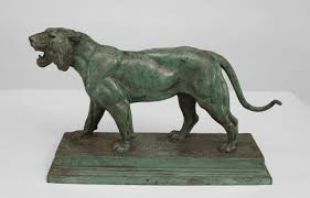 barye lion sculpture pair of green patinated lion and lioness figures by barye