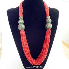 red necklace images Tnl594 tibetan necklace red coraled mini beads necklace tibet jpg