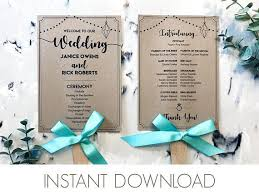 wedding program paddle fan template wedding program fan template fan wedding program pdf printable