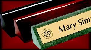 Desk Name Plates With Business Card Holder Award Plaques U0026 Desk Wedges