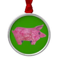 pink pig ornaments decorations décor zazzle